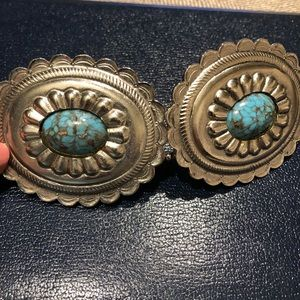 Authentic Southwest Silver 2pc Buckle w/Turquoise